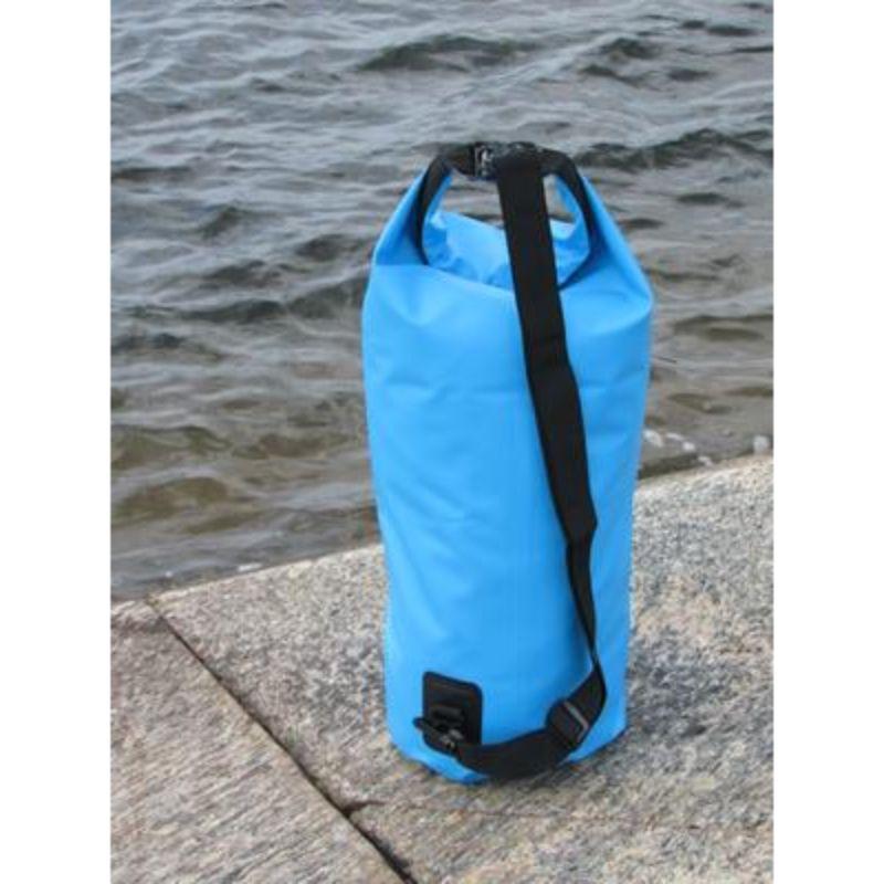 blue 20 L waterproof duffel bag with black shoulder strap