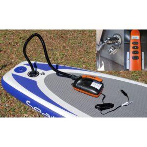 orange electric iar pump attached to a Sea Dog iSUP